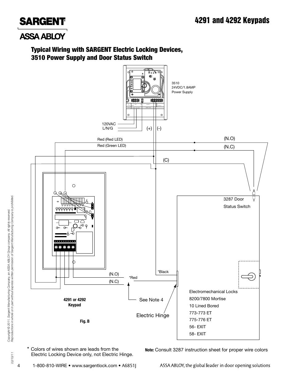 Electric hinge, C) (n o) (n c) | SARGENT 4292 Keypads User Manual