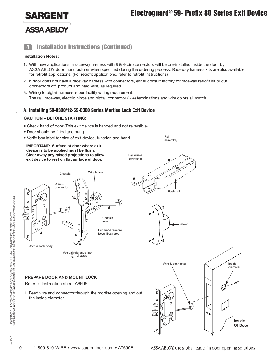 Electroguard Prefix 80 Series Exit Device 4installation Wiring Diagrams By Sargent Locks Instructions Continued Fm8700 Surface Vertical Rod User Manual Page 10