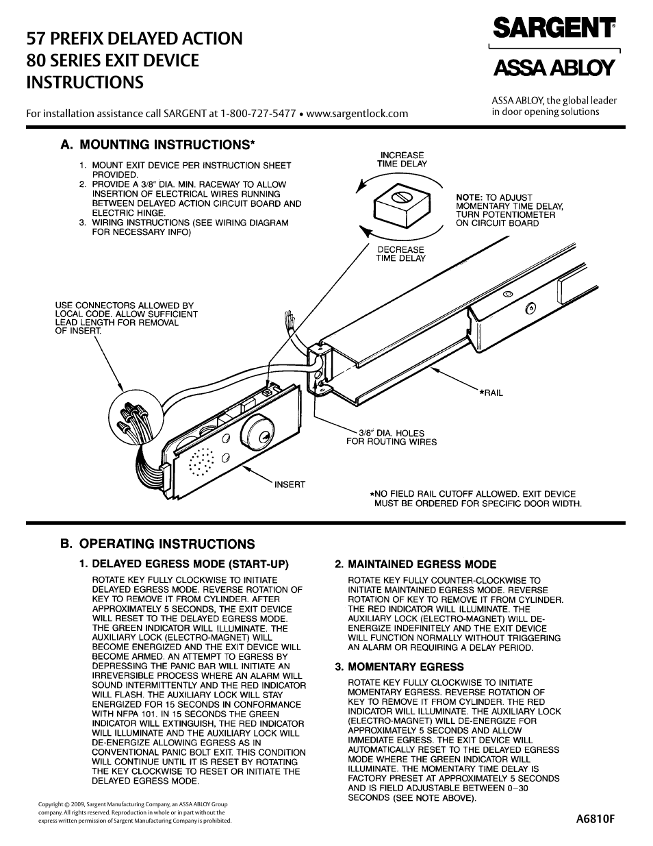 SARGENT 57 - Delayed Egress User Manual | 2 pages | Also for: FM8700  Surface Vertical Rod Exit Device, PR8700 Center & Top Latch Surface  Vertical Rods for ...