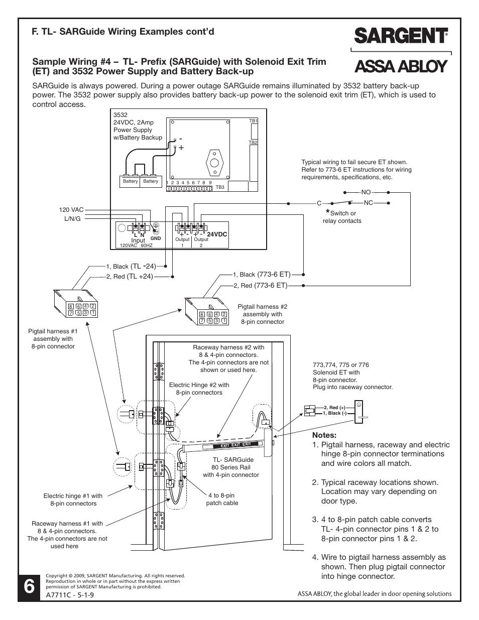 f  tl- sarguide wiring examples cont'd | sargent al - alarmed exit