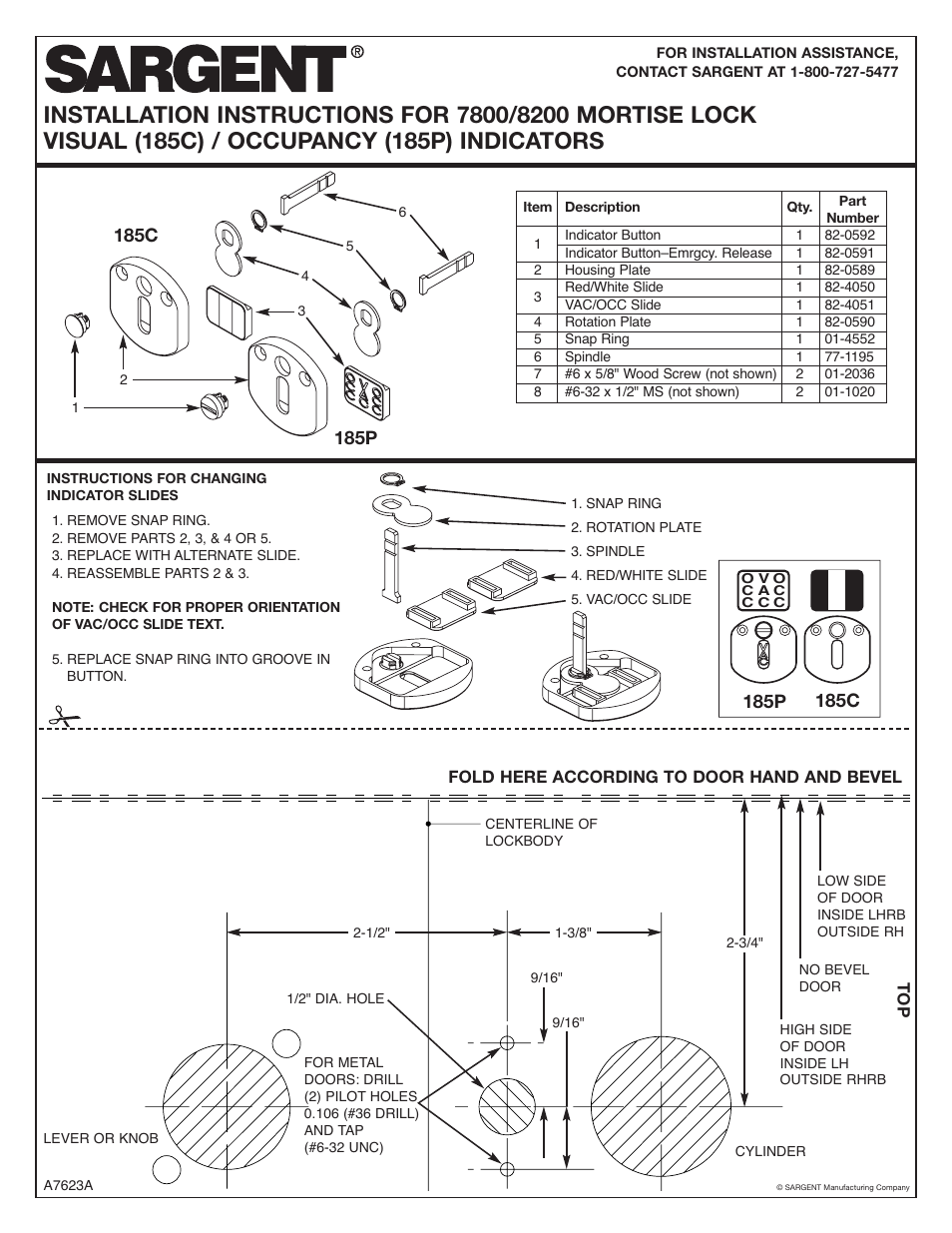 Sargent 7800 Mortise Lock User Manual 2 Pages Also For 8200