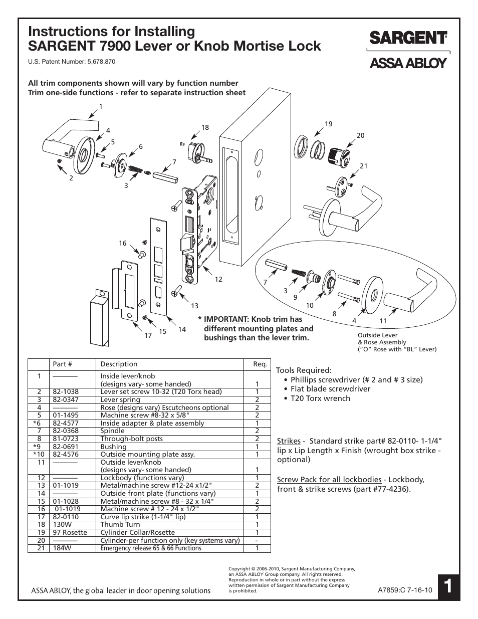 Sargent 7900 Mortise Lock User Manual