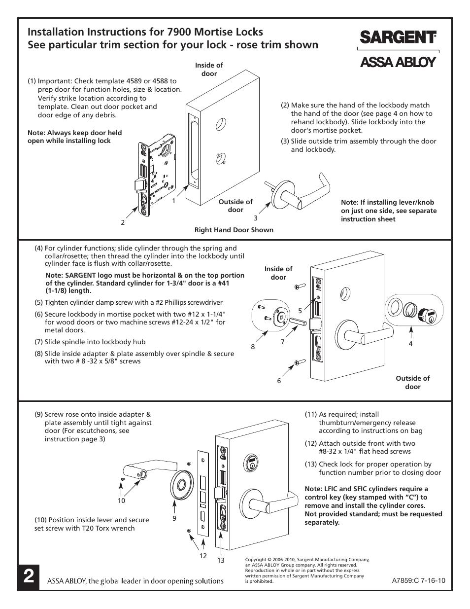 Sargent 7900 Mortise Lock User Manual Page 2 4 Original Mode Diagram