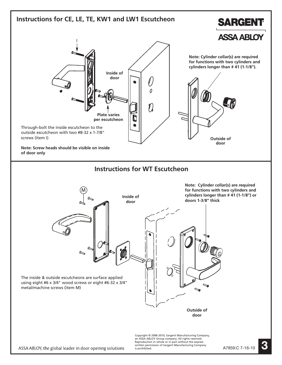 Instructions For Wt Escutcheon Sargent 7900 Mortise Lock User Diagram Manual Page 3 4