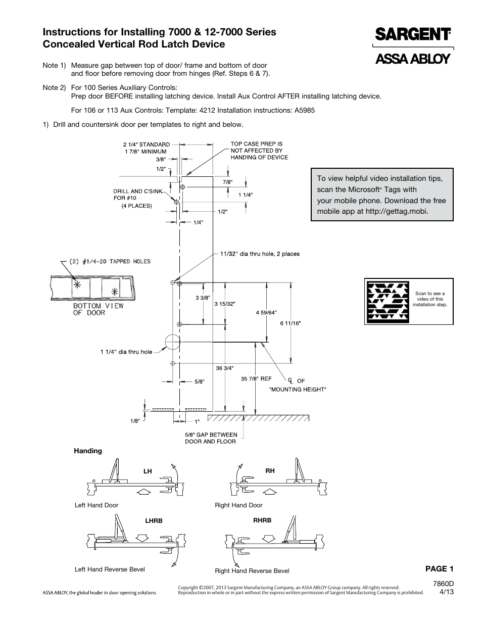 Sargent 7000 Series Vertical Rod Lock User Manual 8 Pages