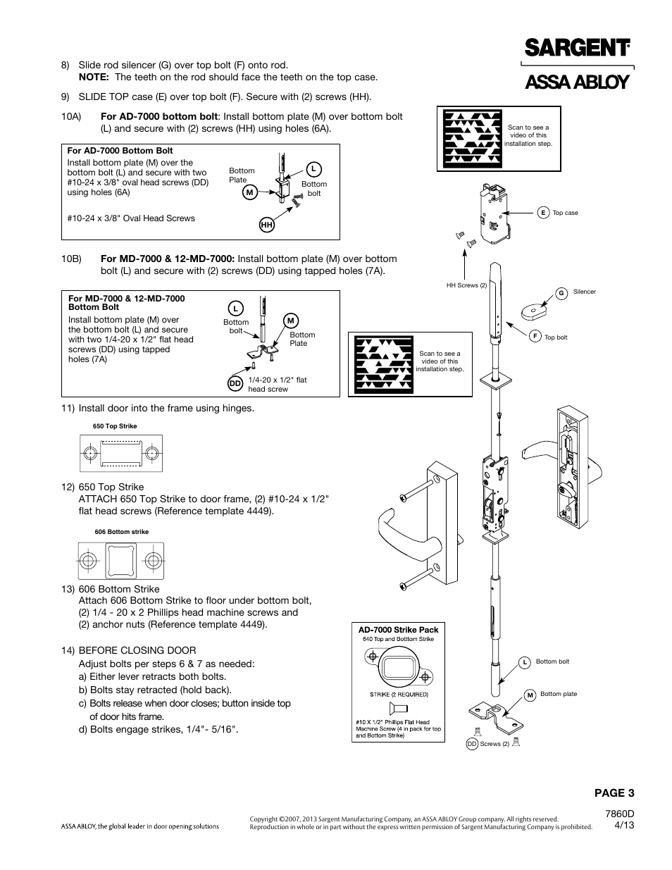 Page 3 | SARGENT 7000 Series Vertical Rod Lock User Manual | Page 3 / 8