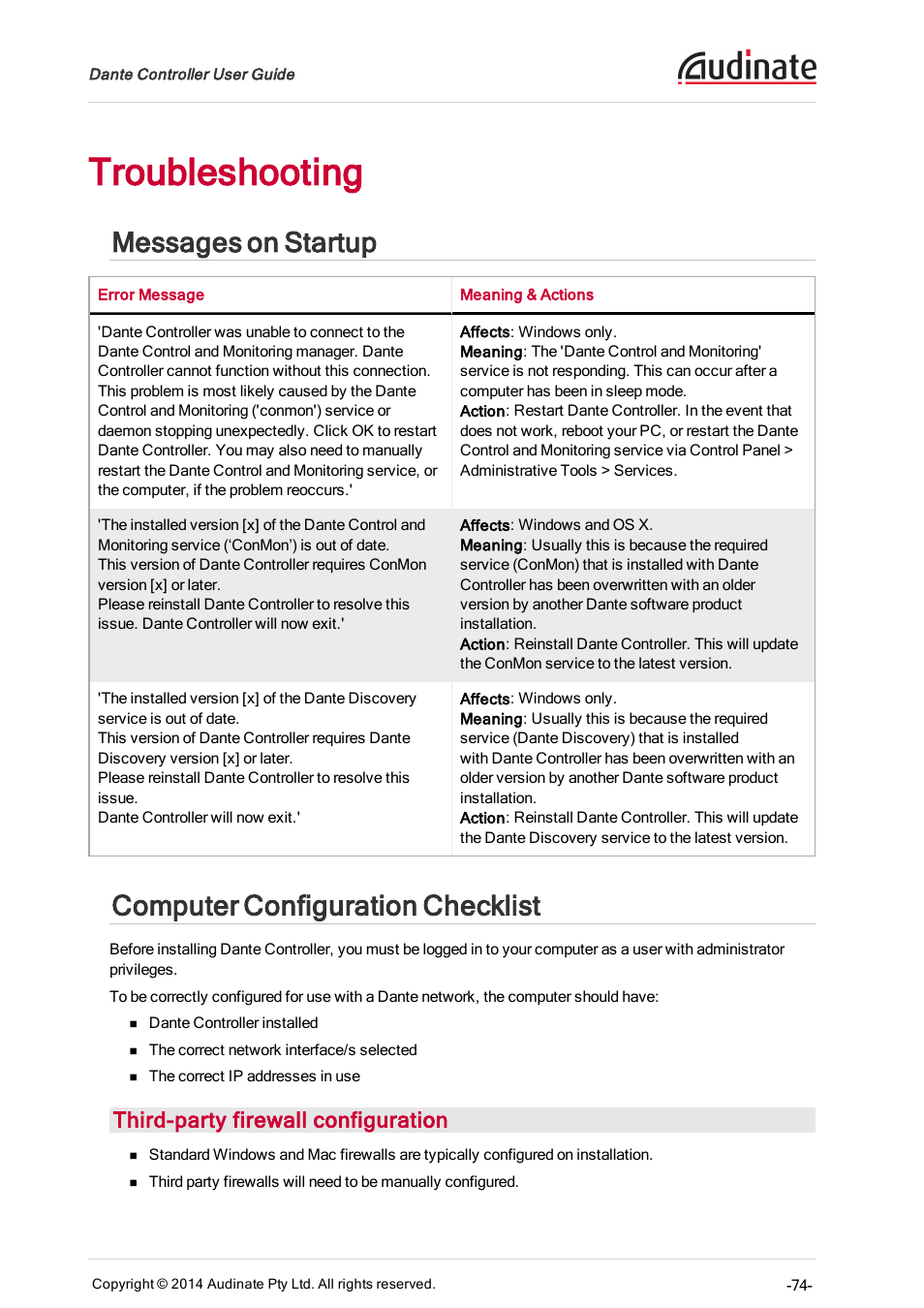 Troubleshooting, Messages on startup, Computer configuration