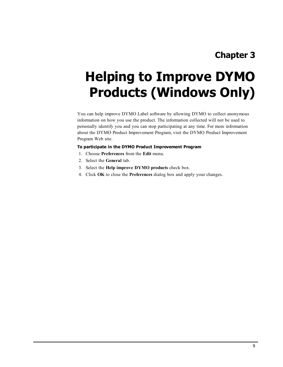 Helping to improve dymo products (windows only), Chapter 3 | Dymo  LabelWriter 450