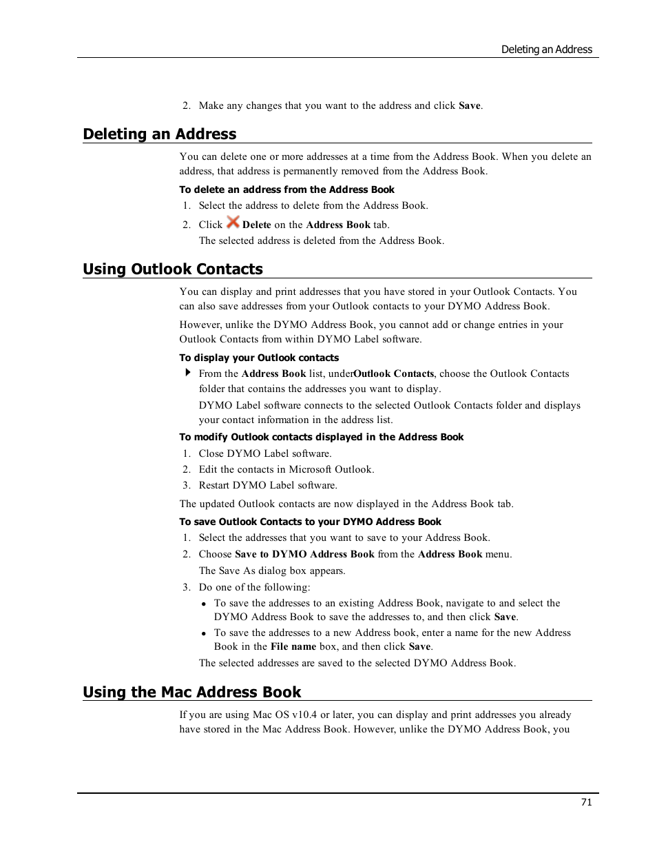 Deleting an address, Using outlook contacts, Using the mac