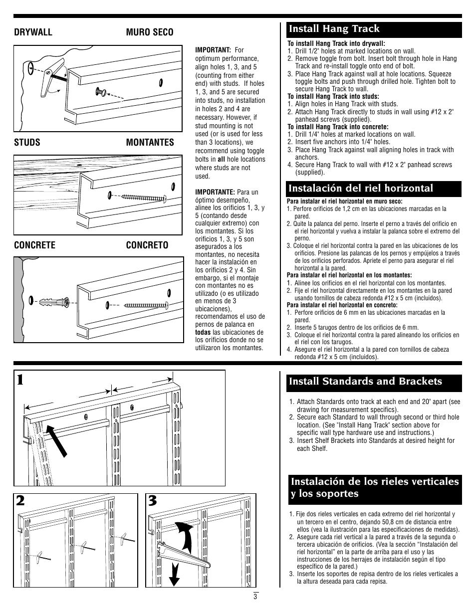 Install Hang Track, Instalación Del Riel Horizontal | Closet Maid 2894 User  Manual | Page