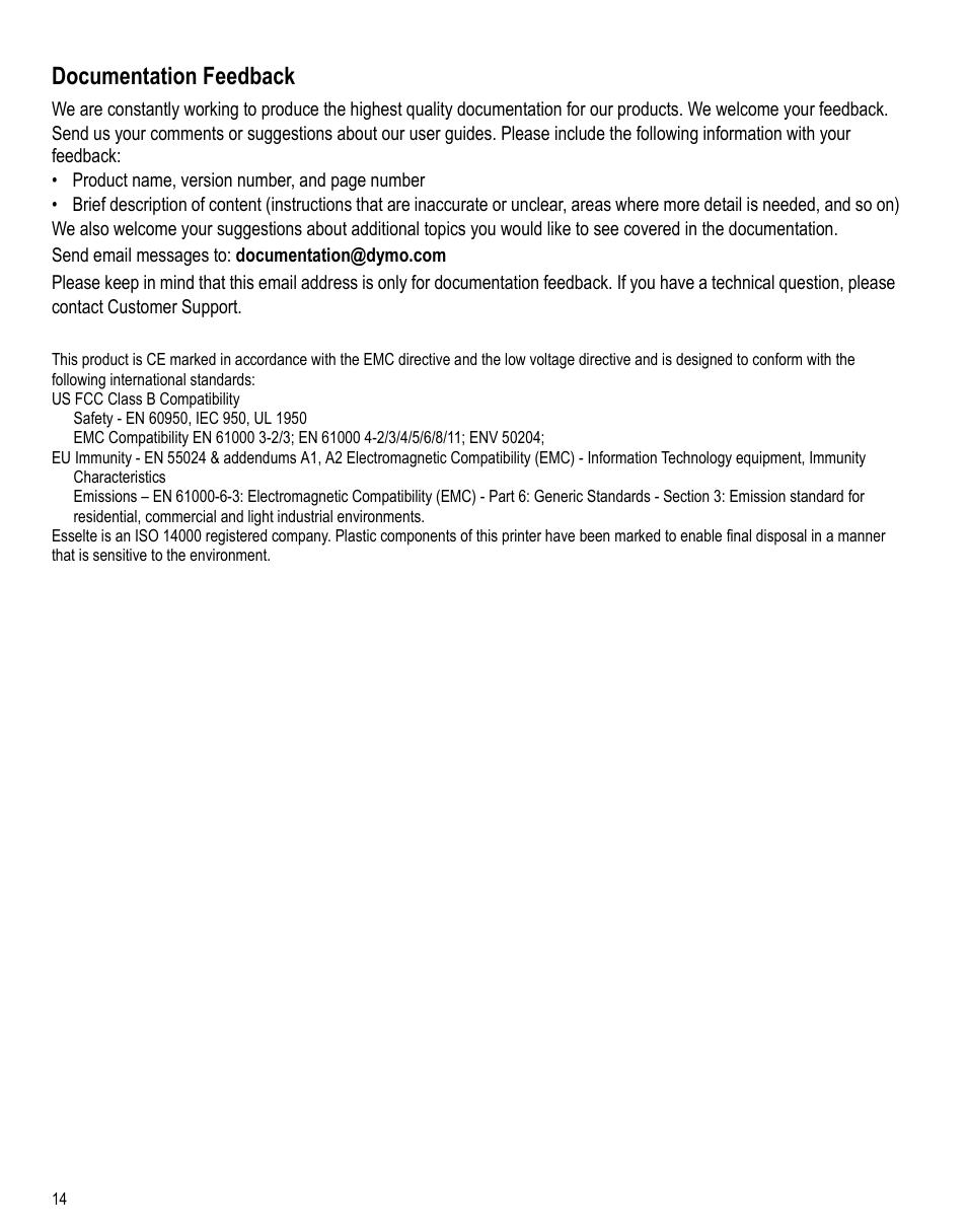 Documentation feedback | Dymo LabelPoint 350 Hardware Manual