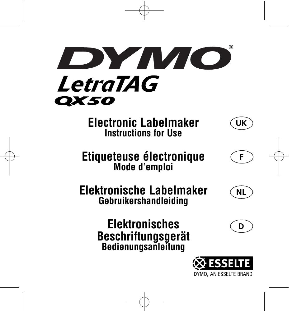 dymo letratag qx50 instruction manual