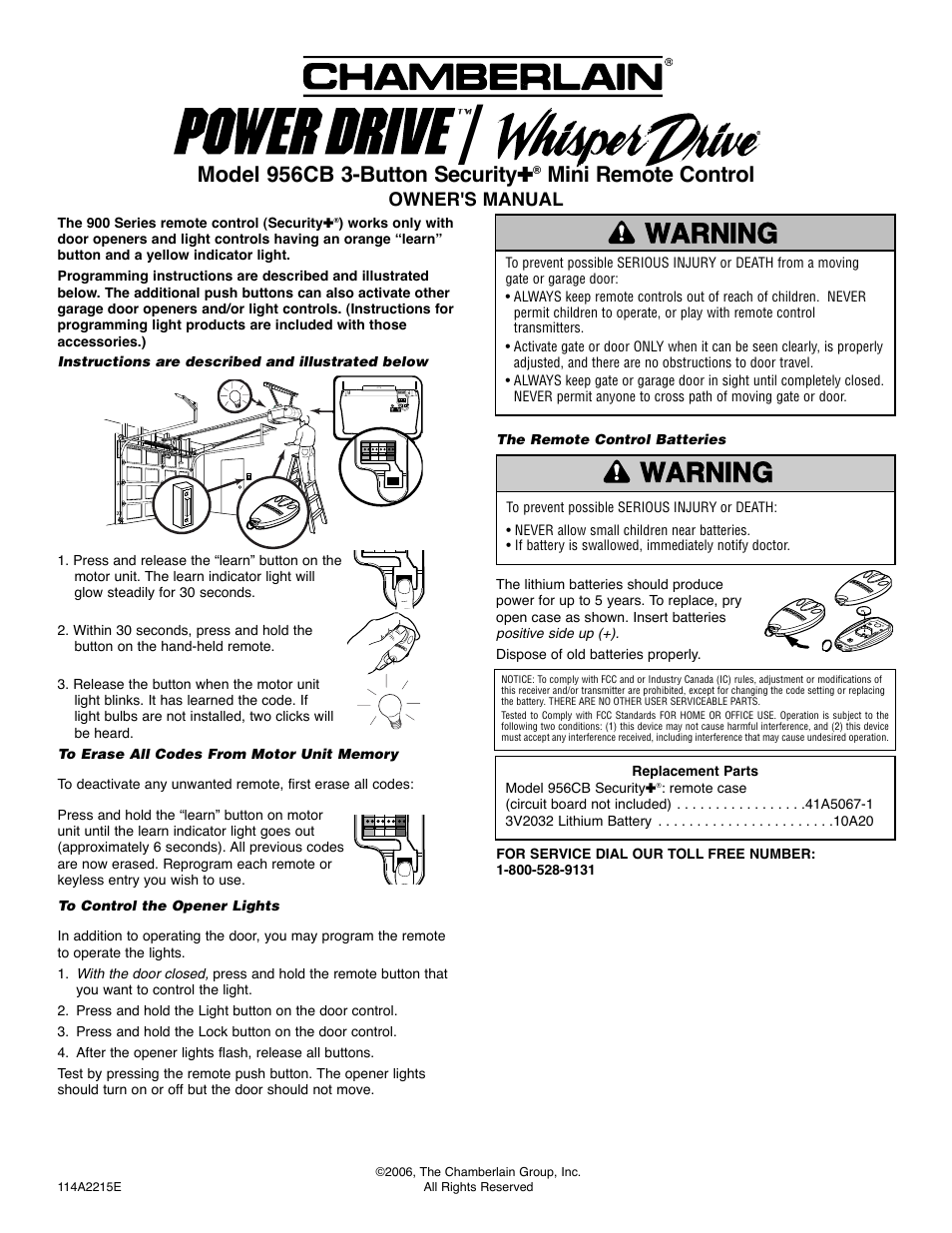 Chamberlain 956cb User Manual 1 Page Circuit Board