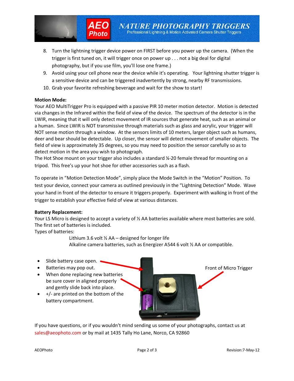 AEO Photo Micro MT Pro 3 0 User Manual | Page 2 / 3