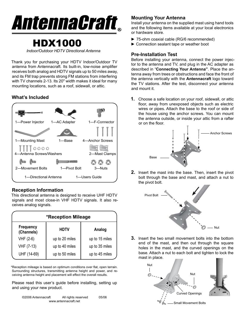 Antennacraft Hdx1000 User Manual 4 Pages Antenna Wiring House