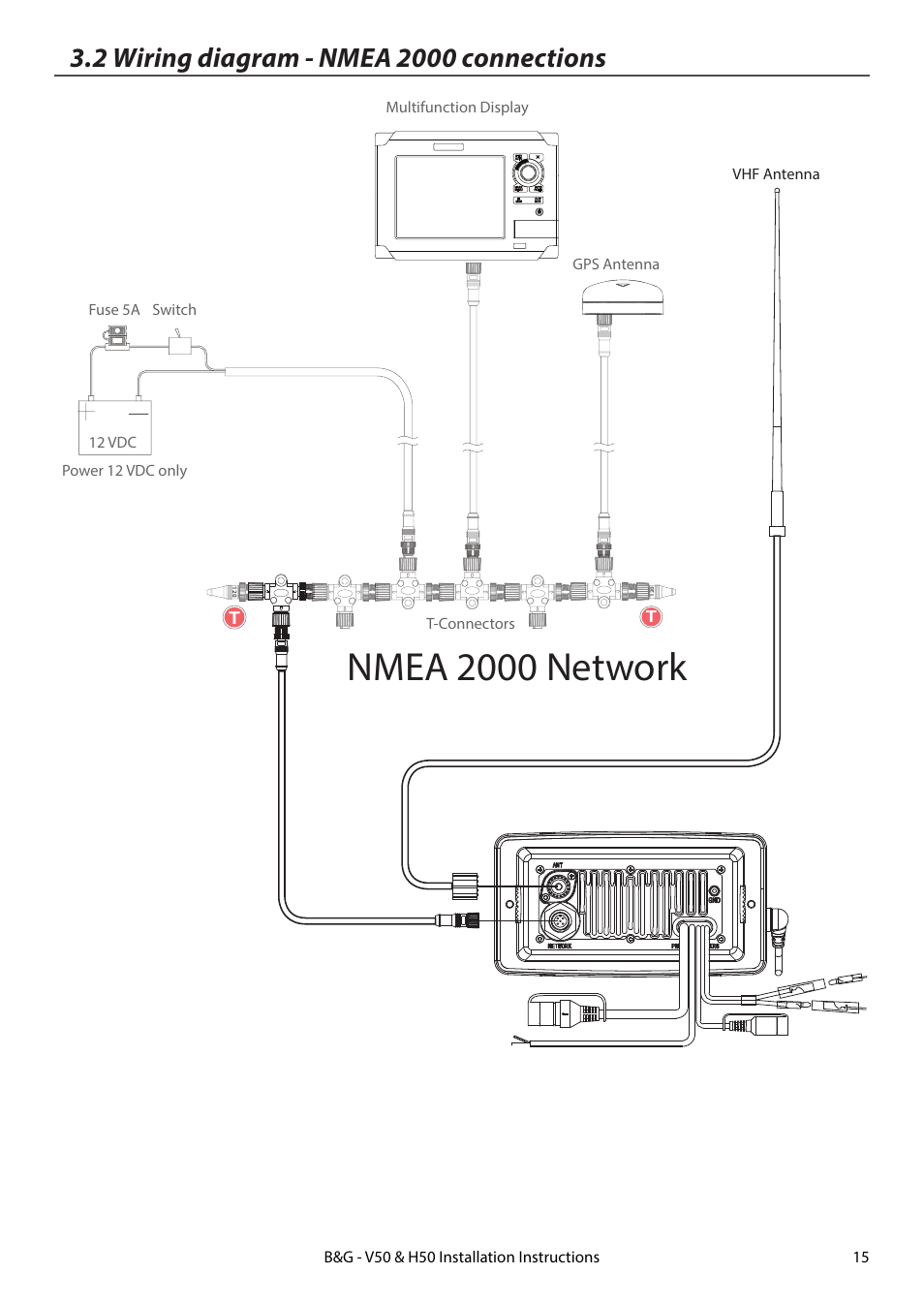 2 wiring diagram - nmea 2000 connections, nmea 2000 network, vhf antenna  link8 vhf | b&g h50 wireless vhf handset user manual | page 15 / 22
