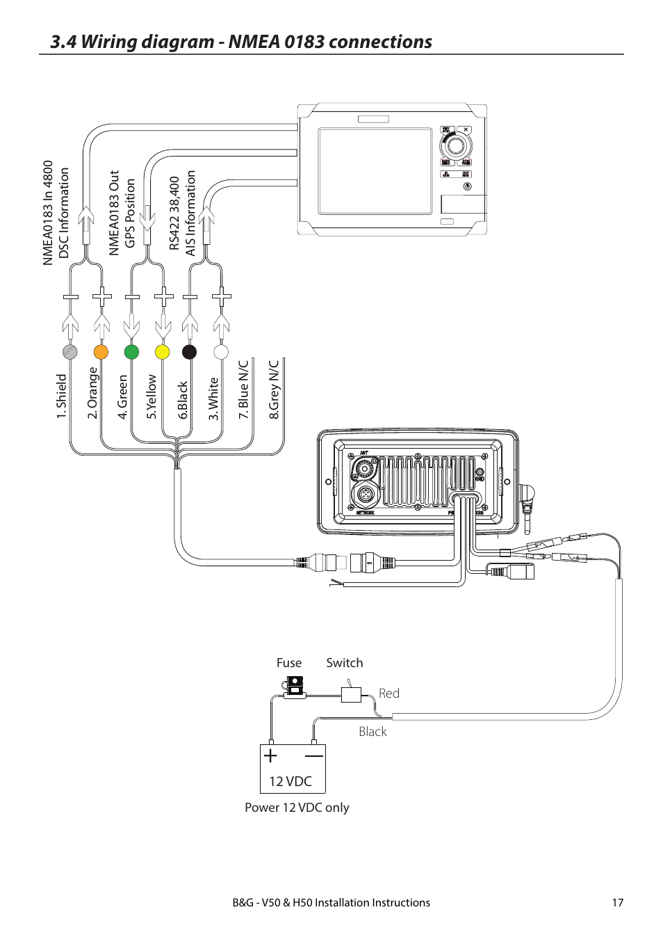4 wiring diagram - nmea 0183 connections | B&G H50 Wireless ... on raymarine seatalk wiring, synchro wiring, transducer wiring, nasa wiring, abyc wiring, usb wiring, smartcraft wiring,