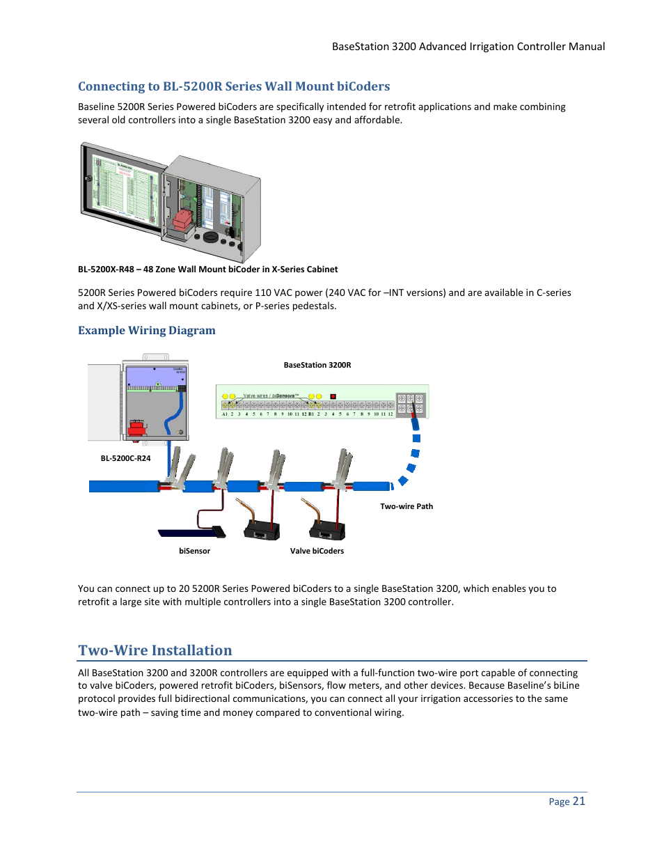Irrigation Flow Sensor Wiring Path Schematic Diagrams Meter Diagram Connecting To Bl 5200r Series Wall Mount Bicoders Example Industrial