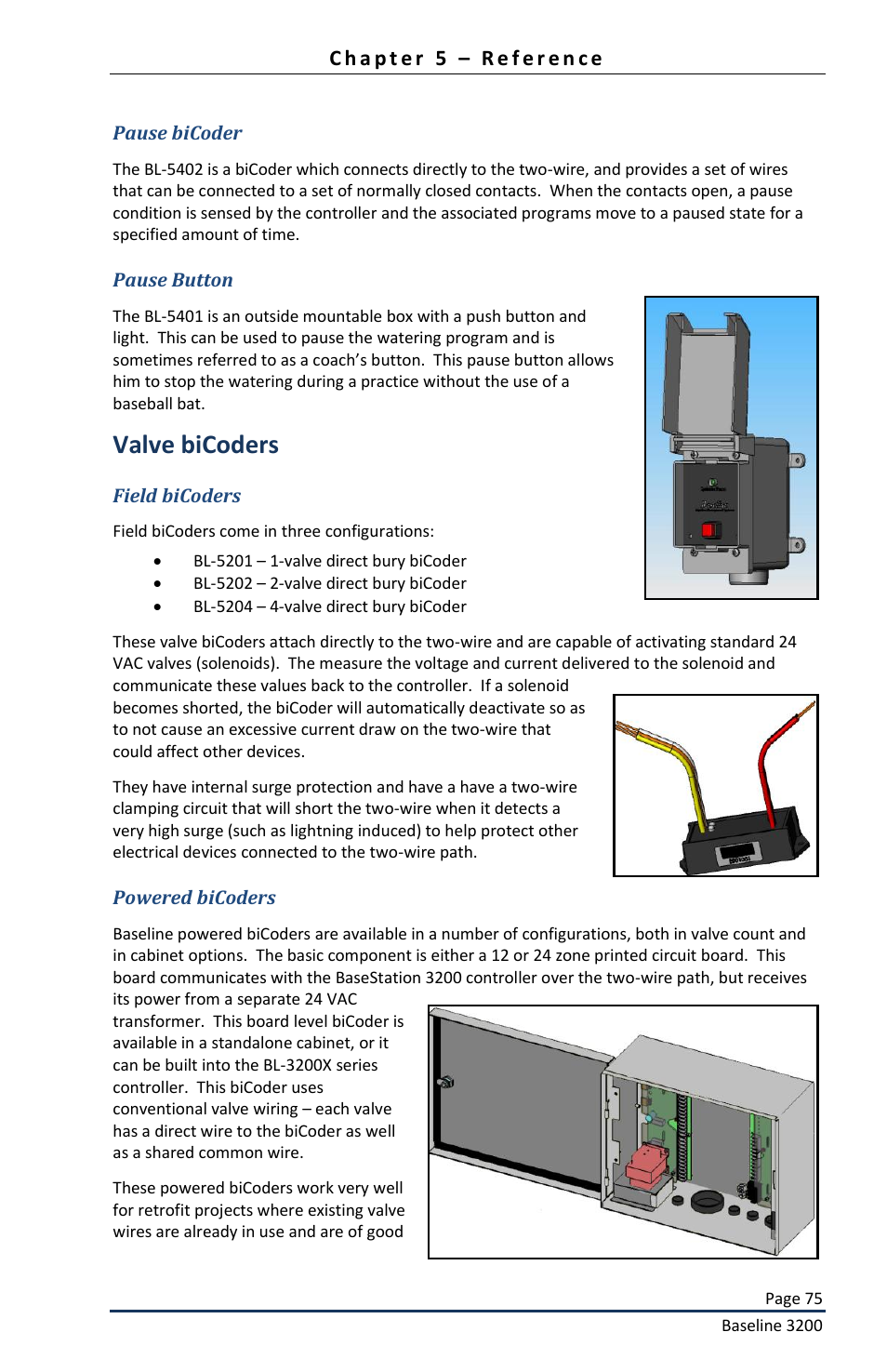 Valve Bicoders Baseline Systems Basestation 3200 User Manual Two Station Start Stop Wiring Page 77 82