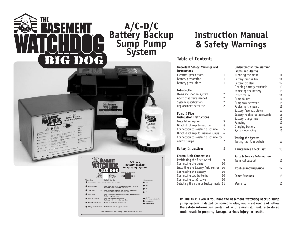 basement watchdog big dog user manual 20 pages rh manualsdir com basement watchdog big dog plus basement watchdog big dog connect