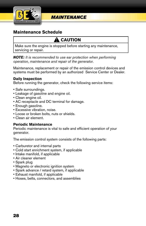 Maintenance, Maintenance schedule, Caution | BE Pressure supply 6800 Watt  Generator BE6800HER User Manual | Page 28 / 32