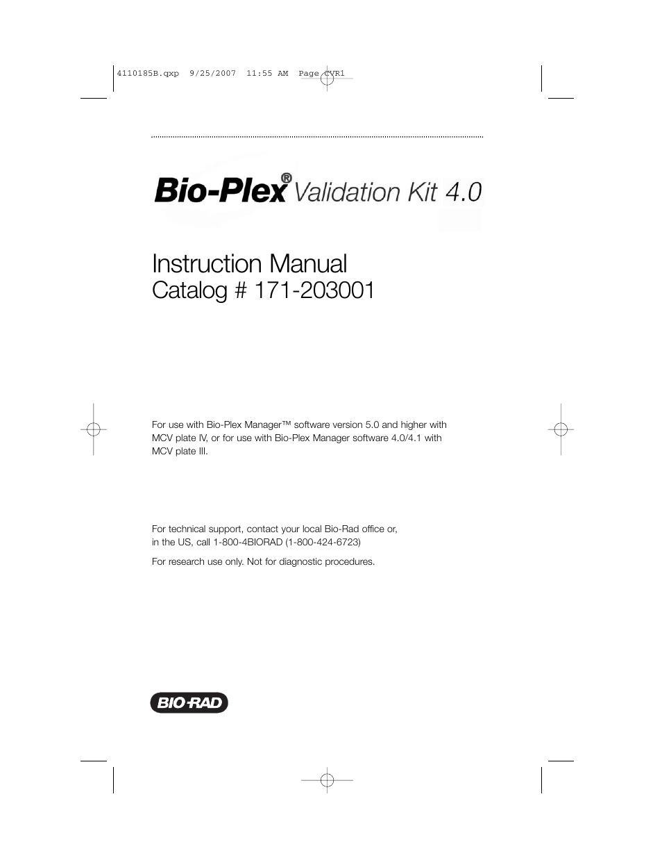 Bio-Rad Bio-Plex System Validation and Calibration Tools User Manual