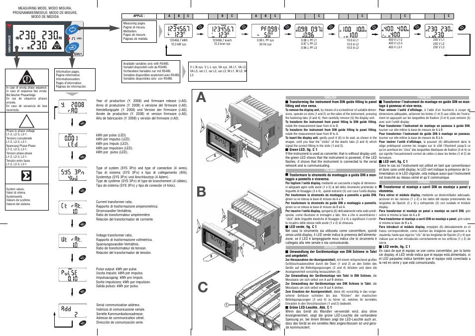 Pdf Download | Carlo Gavazzi EM21 User Manual (4 pages)