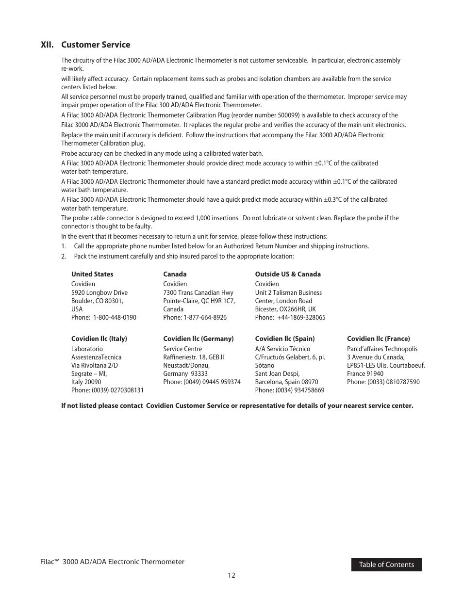 Xii  customer service | COVIDIEN Filac™ 3000 AD/ADA