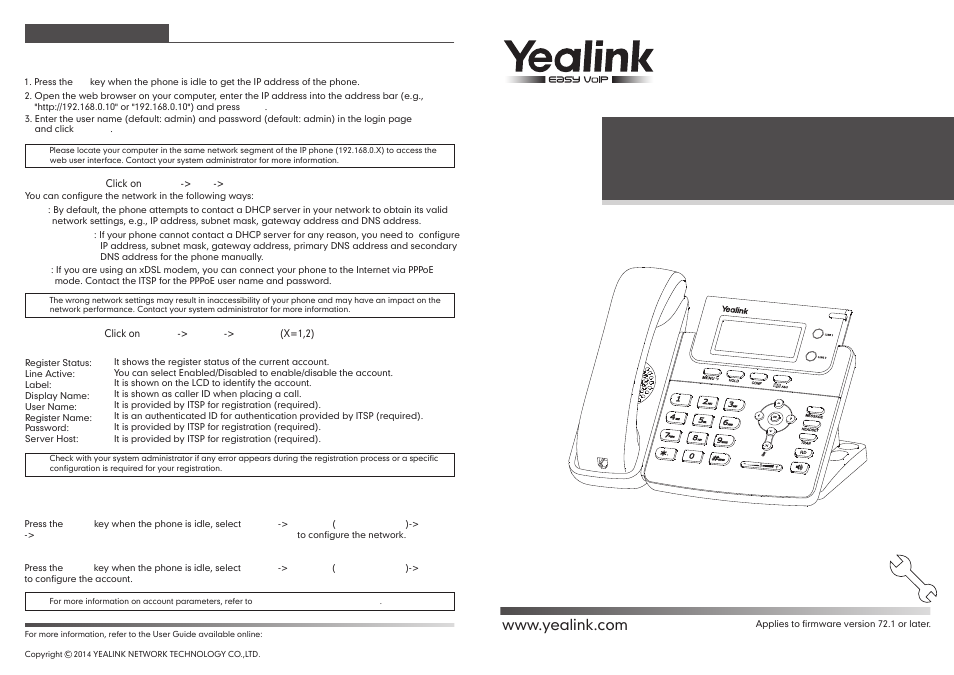 Yealink SIP-T20 User Manual | 2 pages | Also for: SIP-T20P