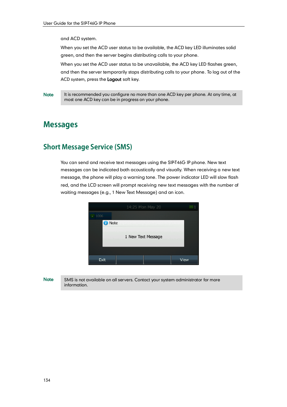 Messages, Short message service (sms) | Yealink SIP-T46G