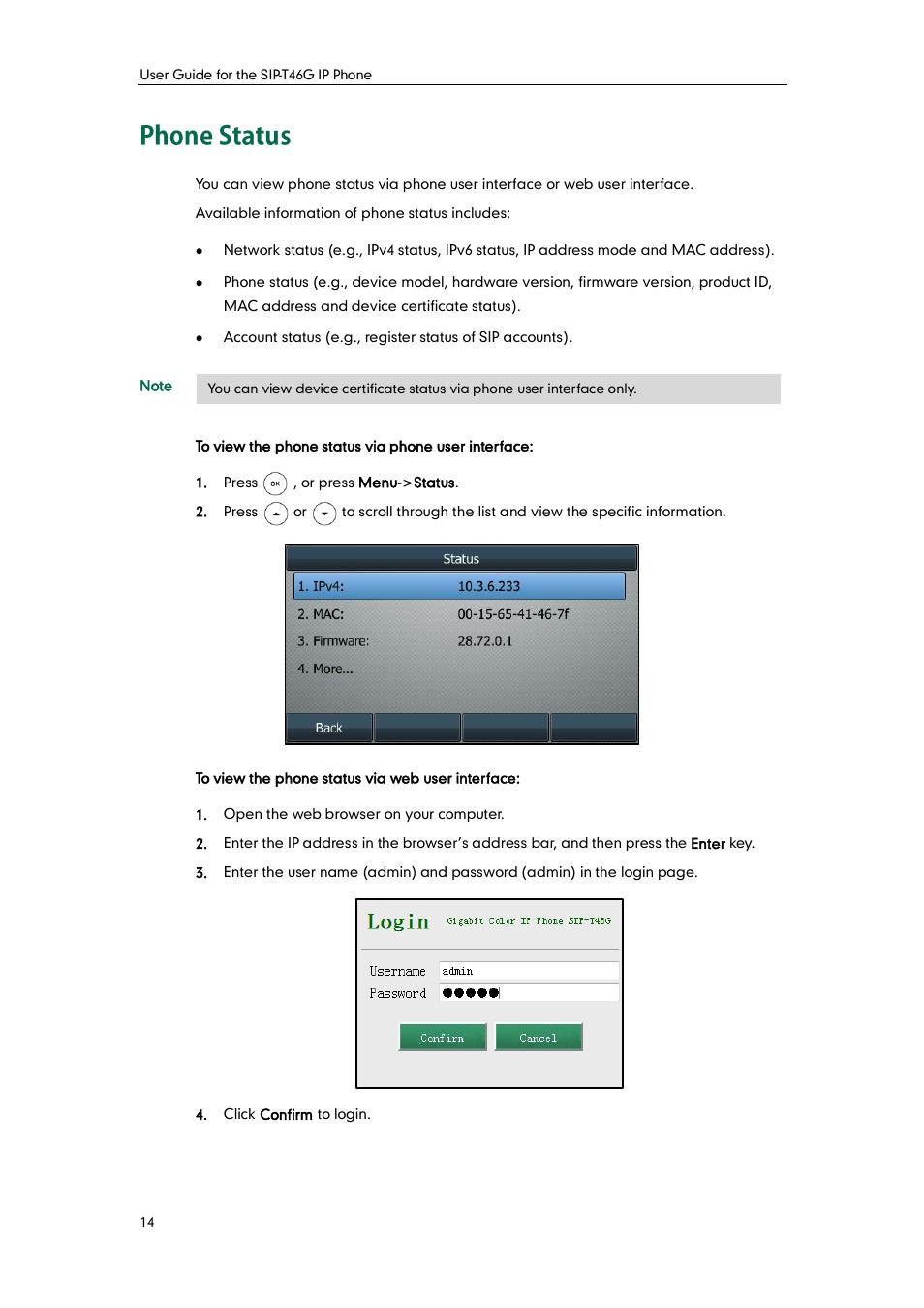 Phone status   Yealink SIP-T46G User Manual   Page 24 / 168