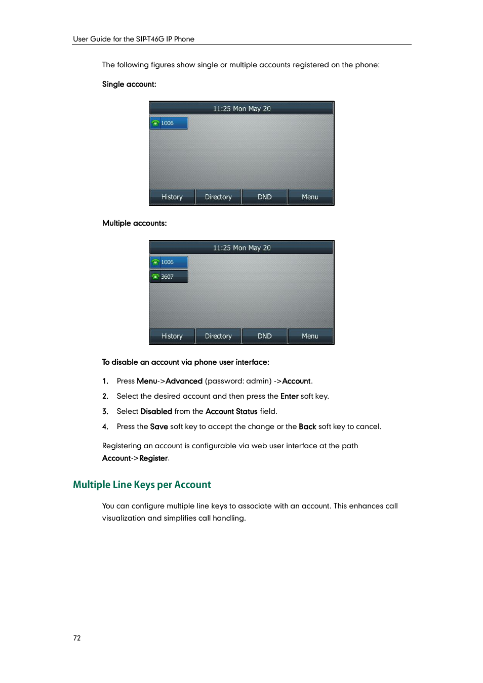 Multiple line keys per account | Yealink SIP-T46G User