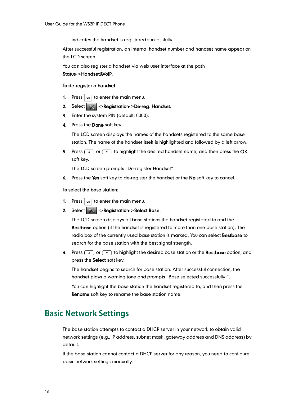 Basic network settings | Yealink W52P User Manual | Page 28 / 84