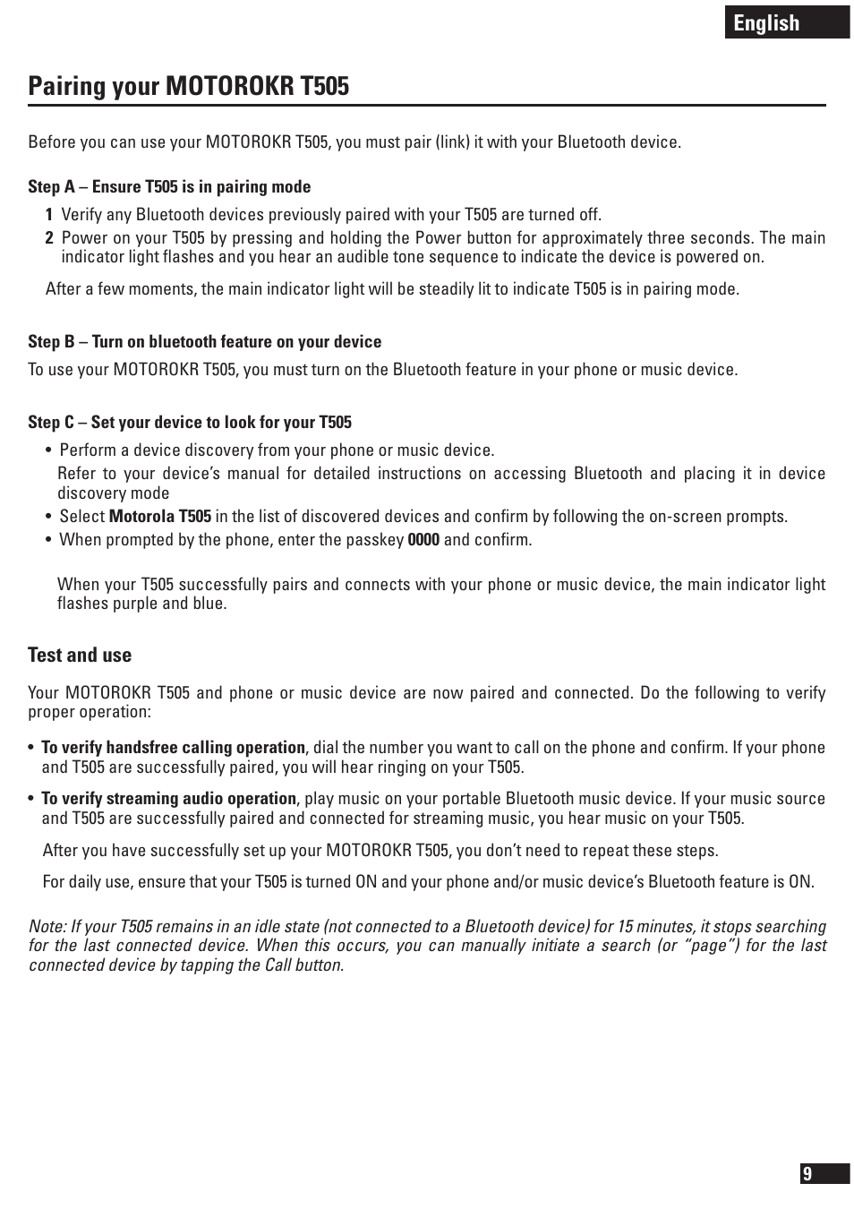 pairing your motorokr t505 english motorola t505 user manual rh manualsdir com motorola t505 user manual motorola t505 pairing mode