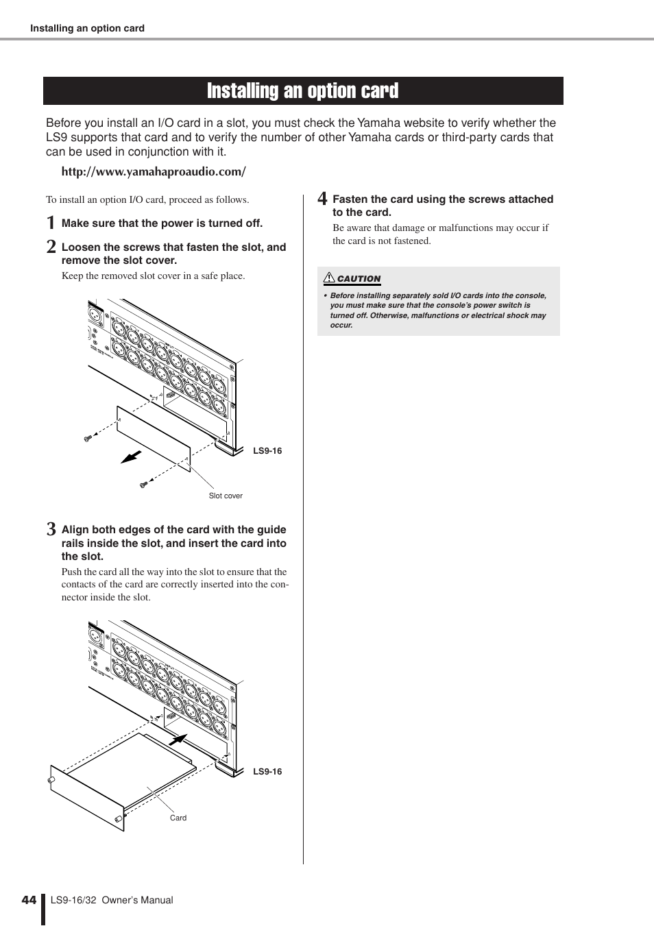 ... Array - installing an option card yamaha ls9 user manual page 44 290 rh  manualsdir ...