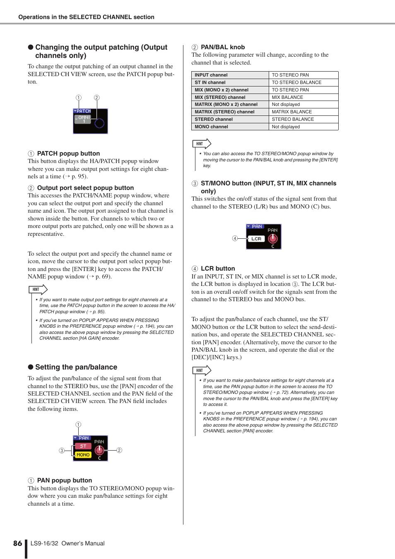 P. 86), Encoder, Setting the pan/balance   Yamaha LS9 User