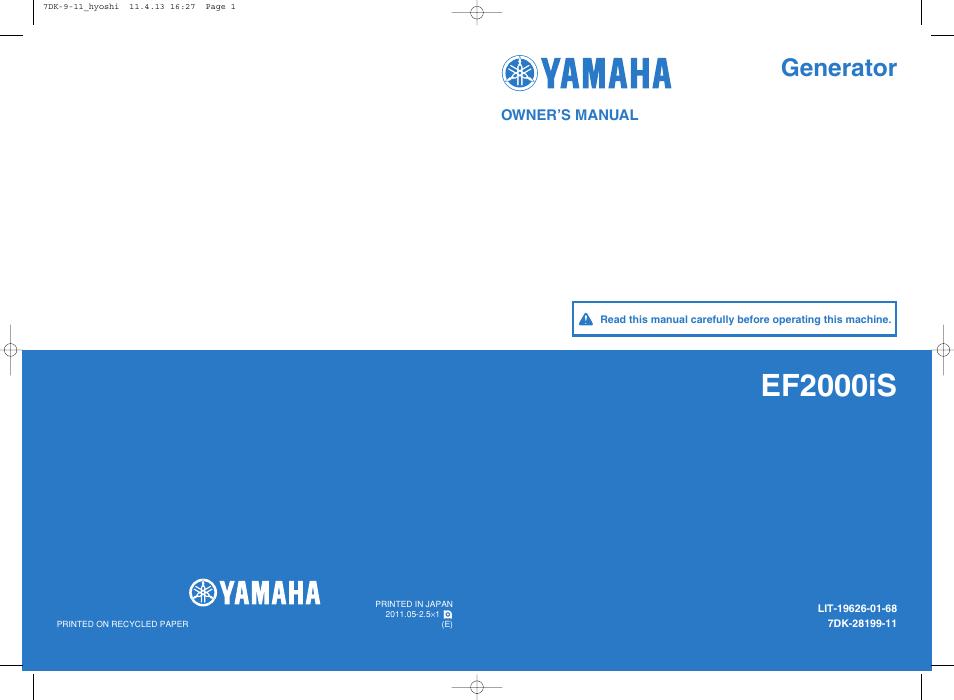 Yamaha Ef2000is User Manual