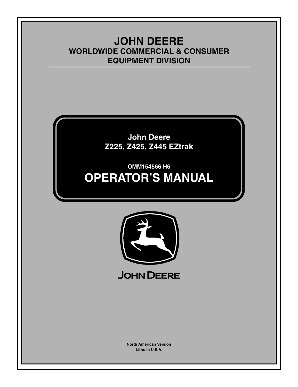 john deere z425 page1 john deere z425 user manual 48 pages also for z225, z445 eztrak