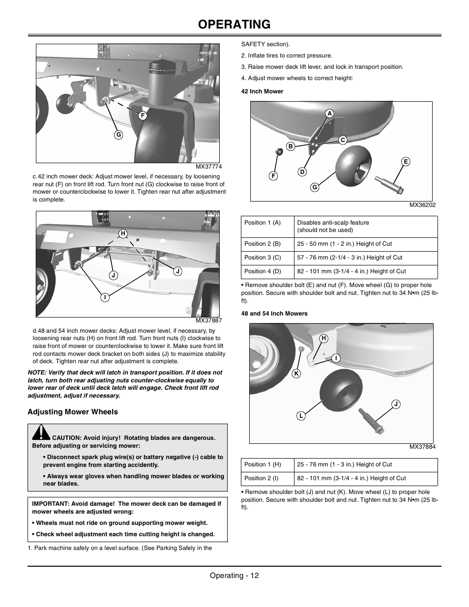 Adjusting Mower Wheels 42 Inch Mower 48 And 54 Inch Manual Guide