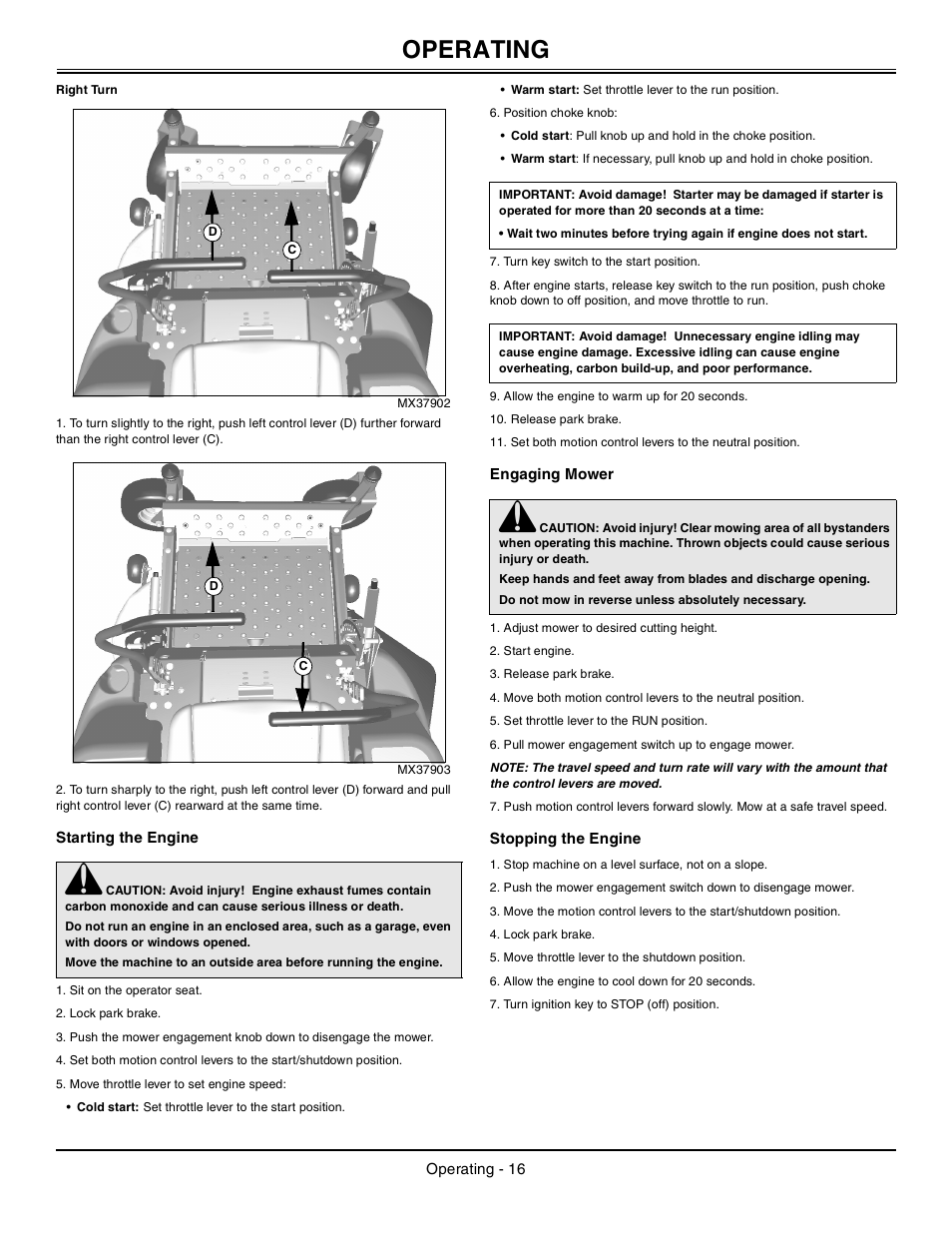 Right Turn Starting The Engine Engaging Mower Manual Guide