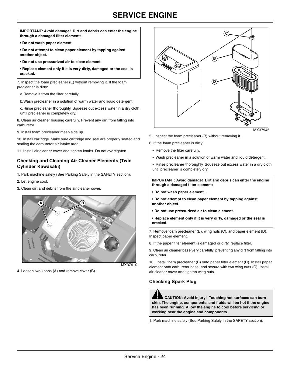 checking spark plug  service engine