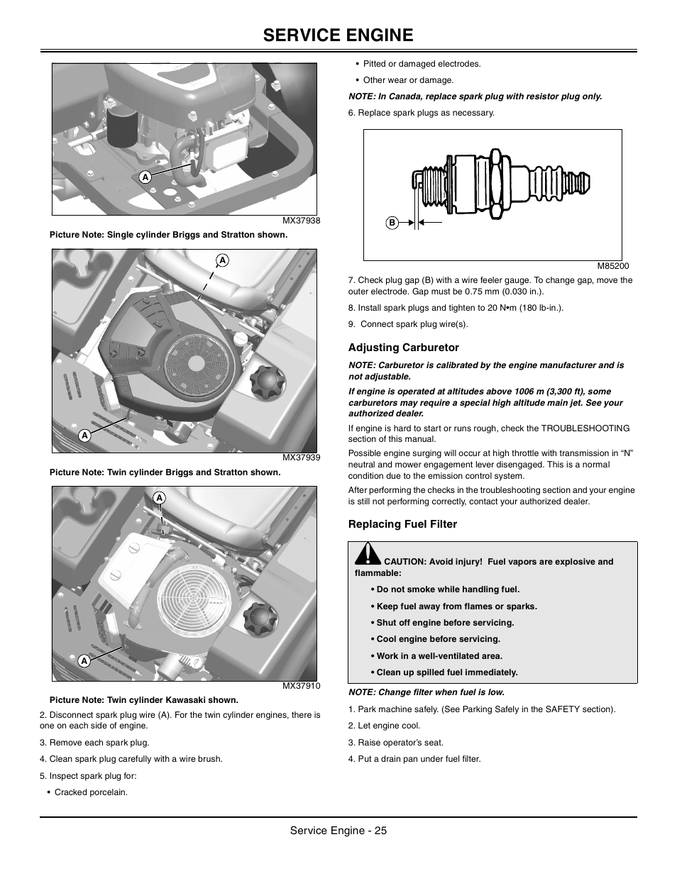 Adjusting carburetor, Replacing fuel filter, Service engine | John Deere  z425 User Manual | Page 26 / 48