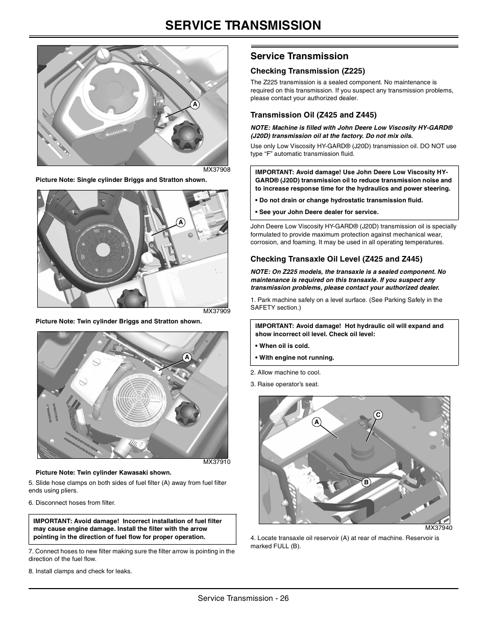 John Deere Z425 Oil Drain Plug Location