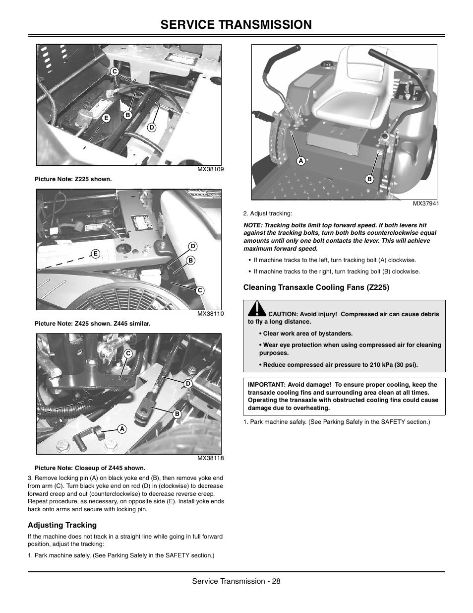 adjusting tracking cleaning transaxle cooling fans z225 service rh manualsdir com z225 owners manual John Deere Z225 Manual