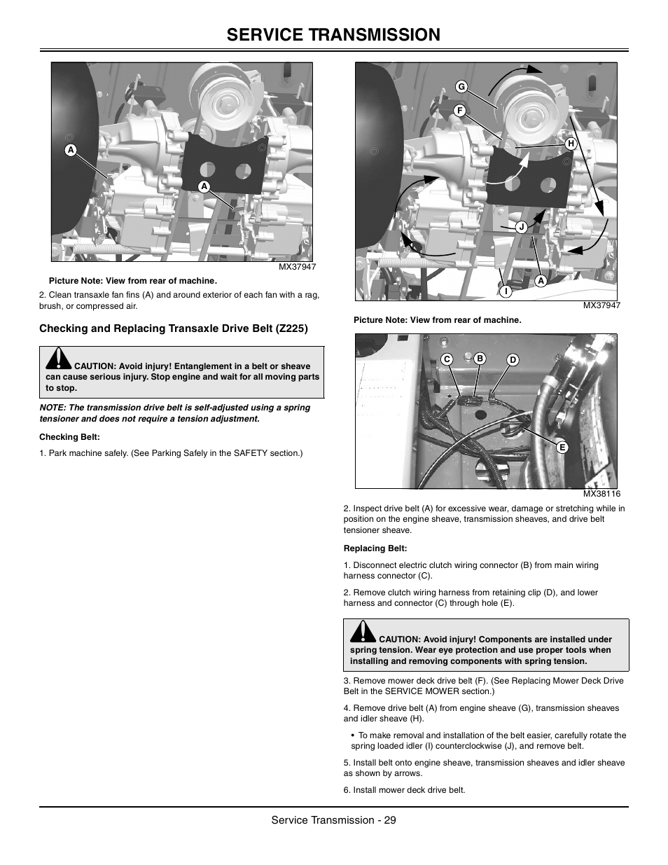 checking and replacing transaxle drive belt z225 checking belt checking and replacing transaxle drive belt z225 checking belt replacing belt john deere z425 user manual page 30 48