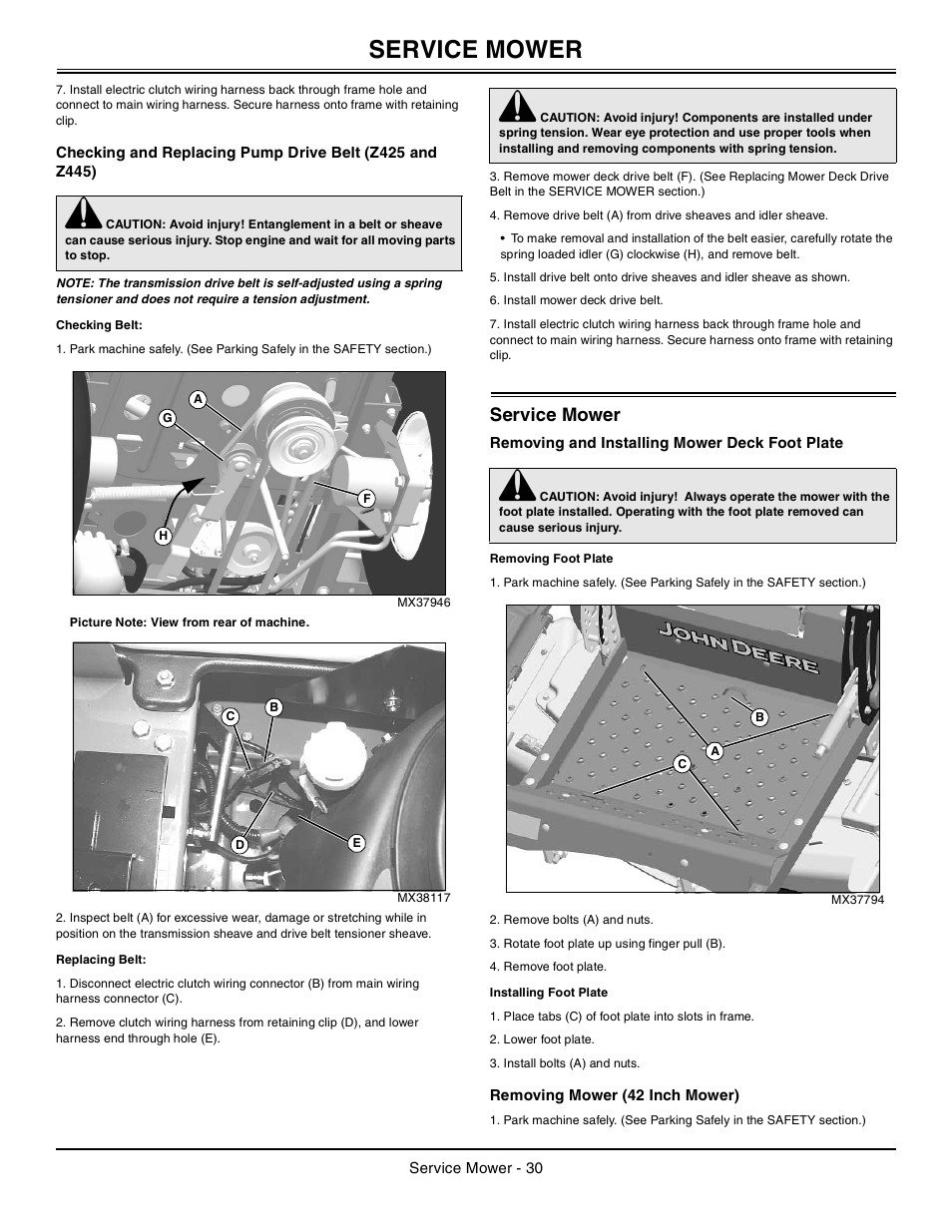Checking belt, Replacing belt, Service mower | John Deere z425 User Manual  | Page 31 / 48
