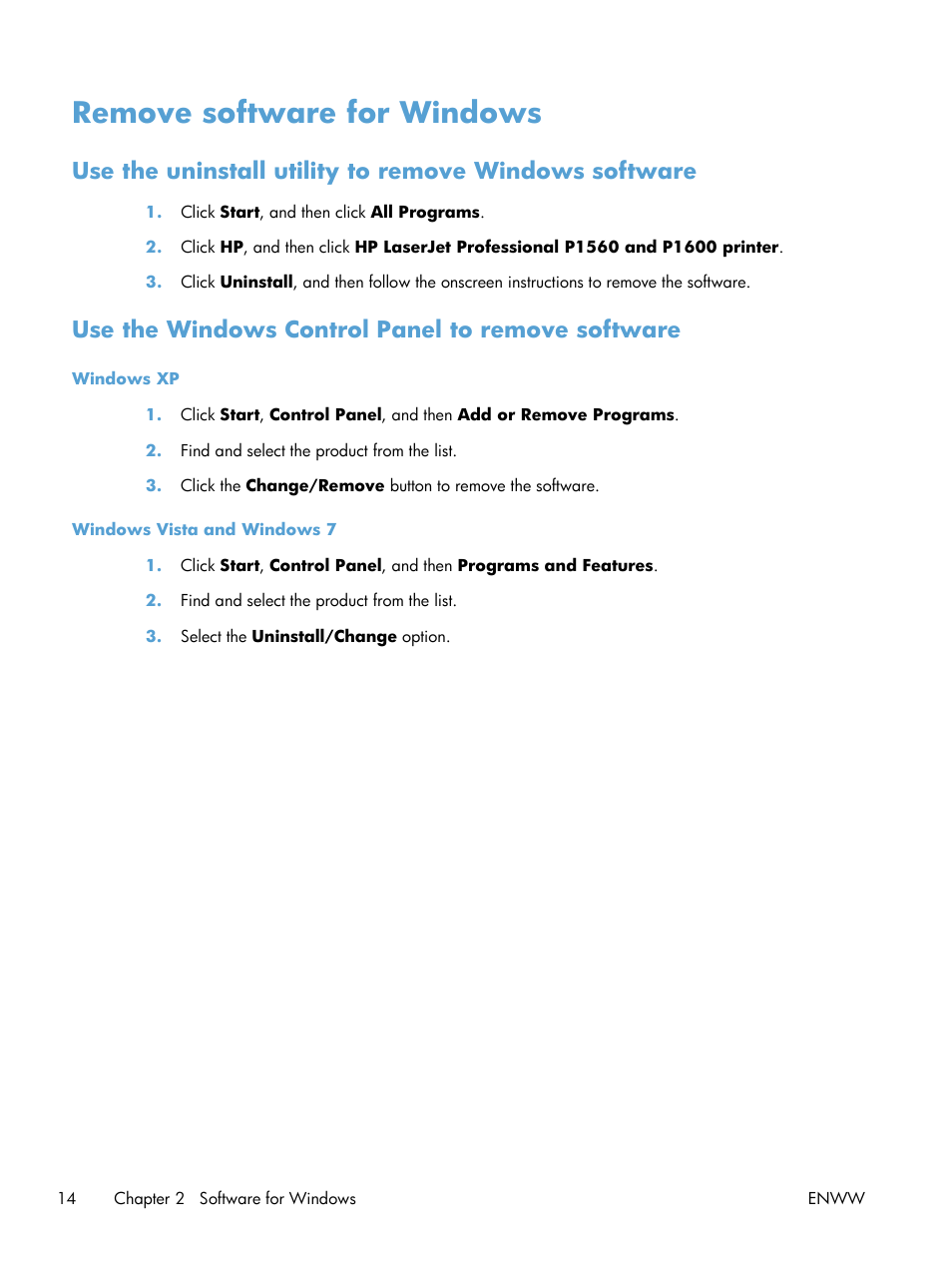 Remove software for windows, Use the windows control panel to remove  software | HP Laserjet