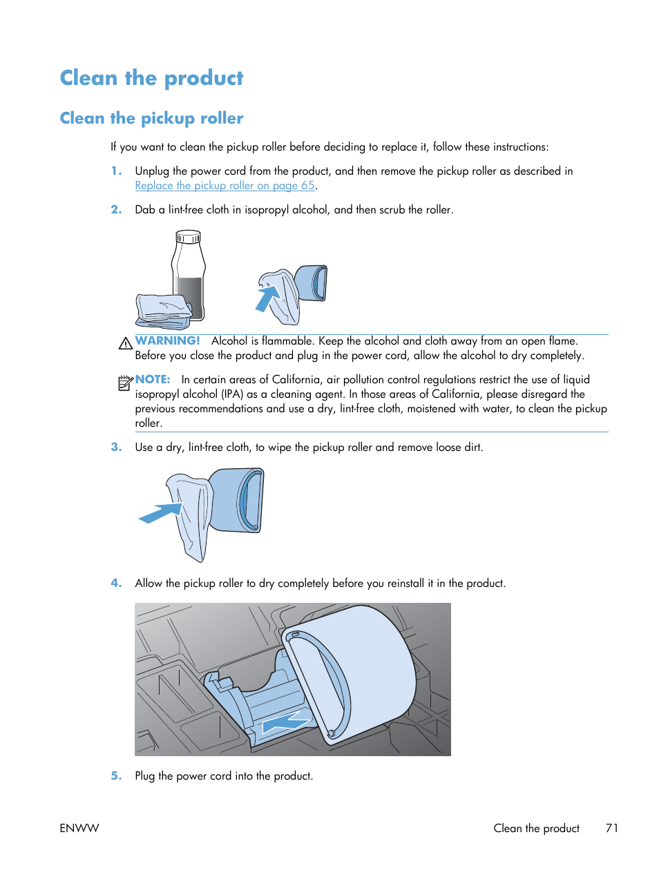 Clean the product, Clean the pickup roller | HP Laserjet