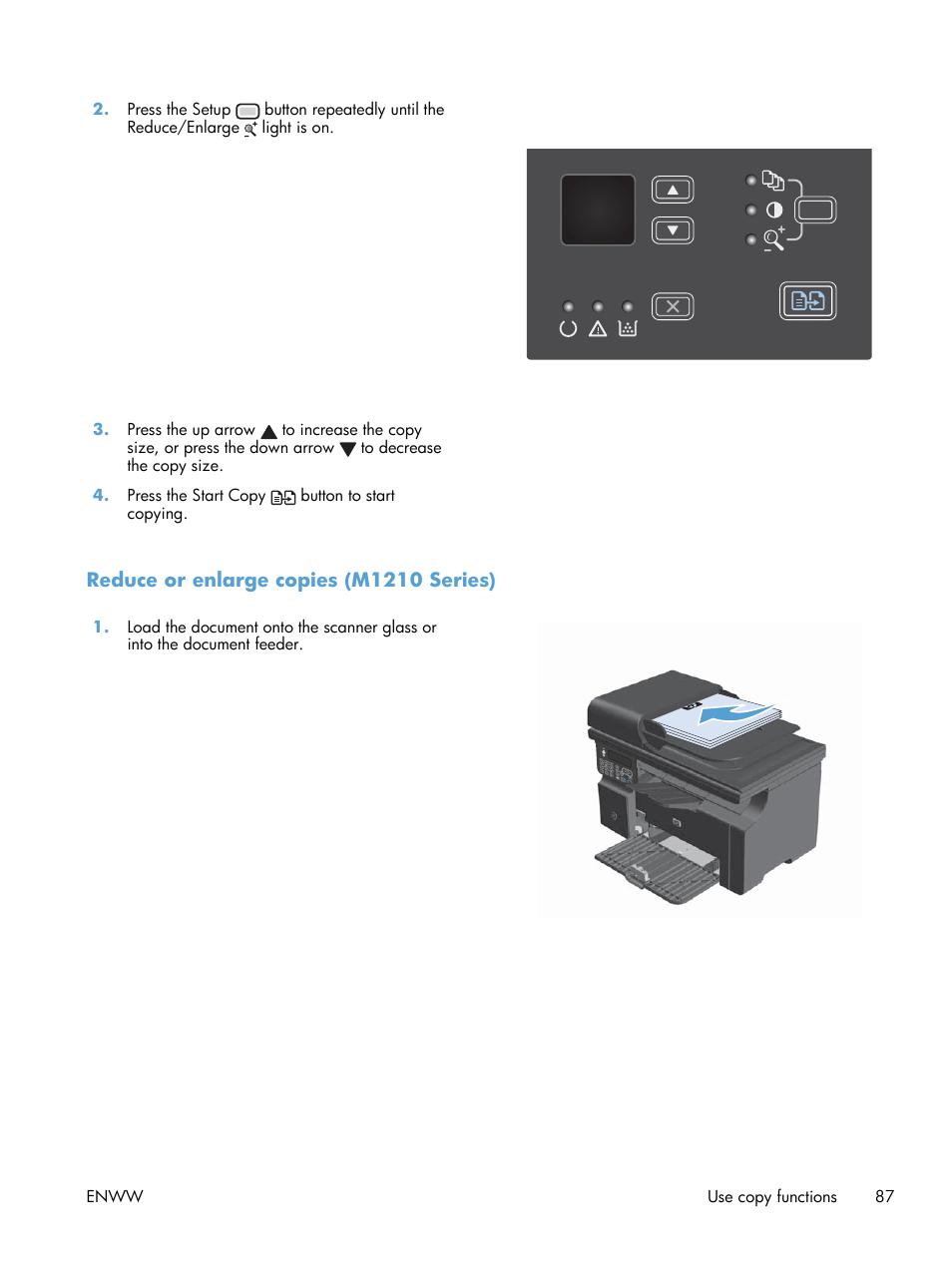 Reduce or enlarge copies (m1210 series)   HP laserjet m1212nf User Manual    Page 101 / 284
