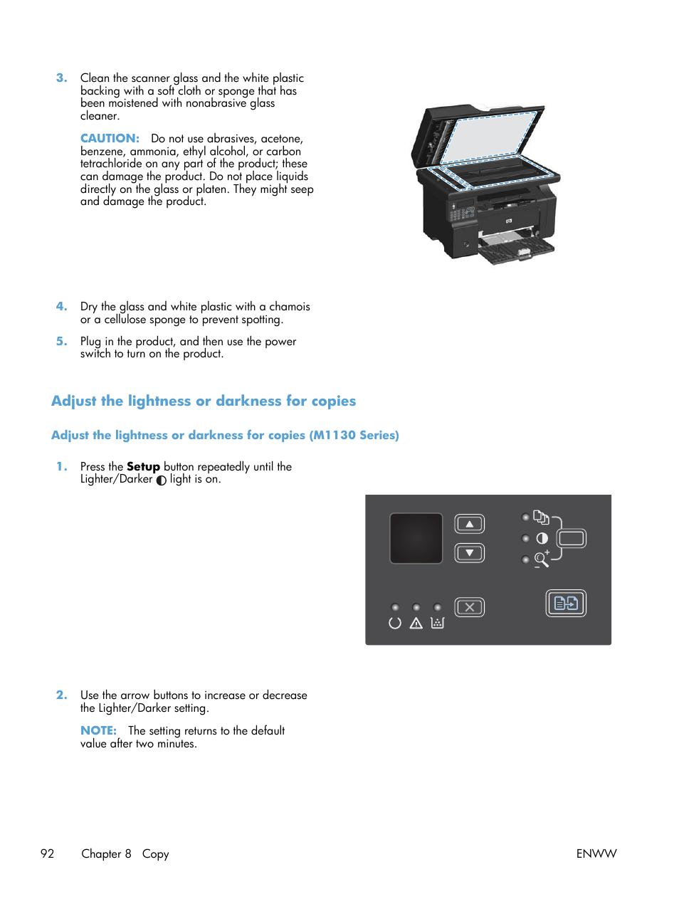 Adjust the lightness or darkness for copies   HP laserjet m1212nf User  Manual   Page 106 / 284